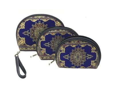 Dokuma 3'lü makyaj çantası seti